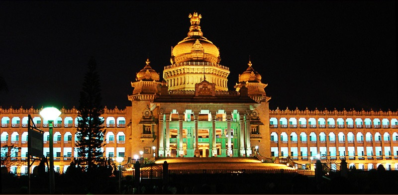 Full view of illuminated vidhanasoudha