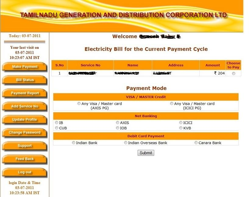 TNEB Online Payment Page