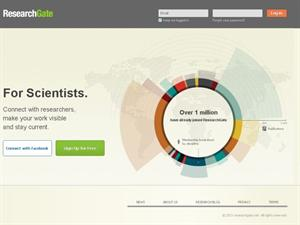 ResearchGate website- Opening page