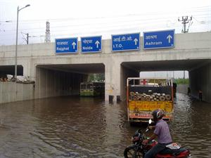 Underpass filled with water