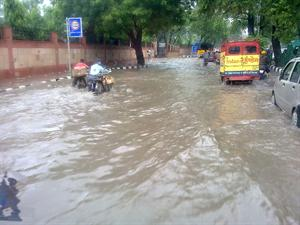 Roads in Delhi filled with water