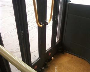 Rain water in bus in Delhi