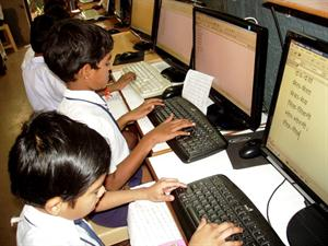 Computers used for learning Hindi