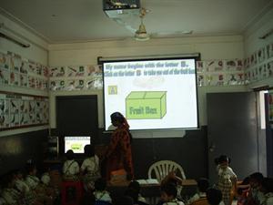 Overhead projector in classroom