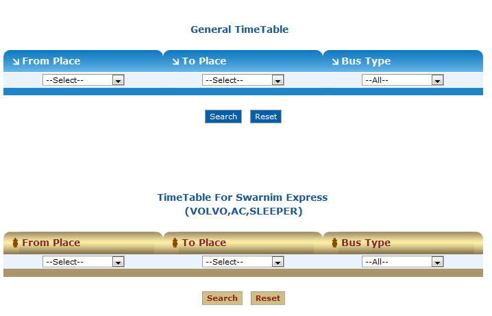 GSRTC Time Table