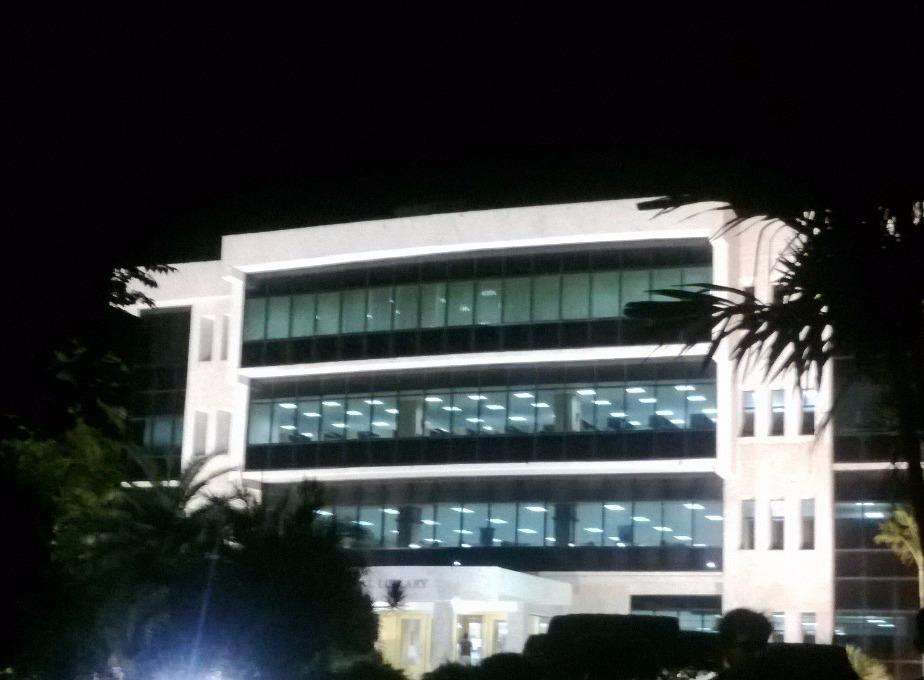 Front night view of Central Library at VIT