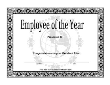 Receiving the best employer award speech for Employee of the year certificate free template