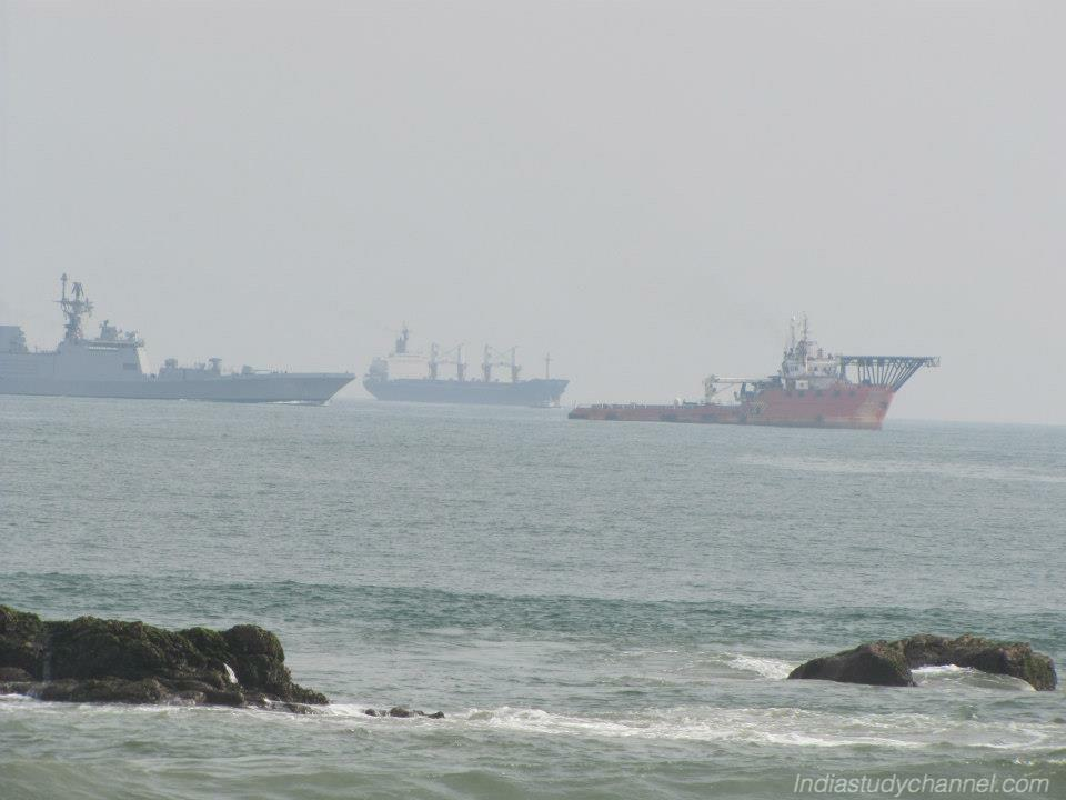 Indian Naval Ships Sailing in the Sea near RK Beach, Vishakapatnam