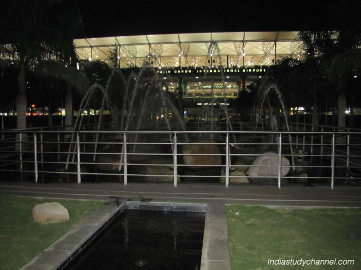 Garden area and water fountain at Rajiv Gandhi Airport, Shamshabad