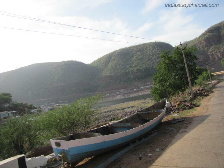 Picture of boat near krishna river in srisailam