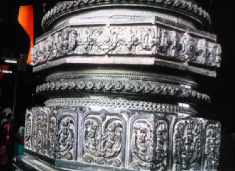 Beautifully carved Pillar of 1000 Pillars Temple, Warangal, Telangana