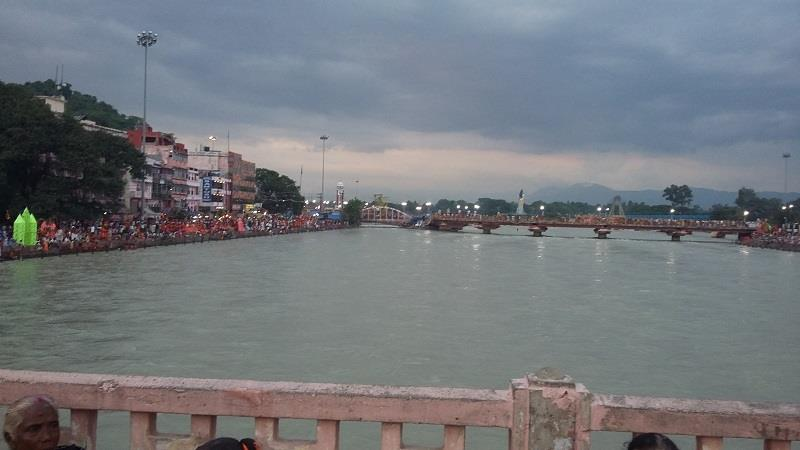 A view of Ganga river during evening Ganga aarti