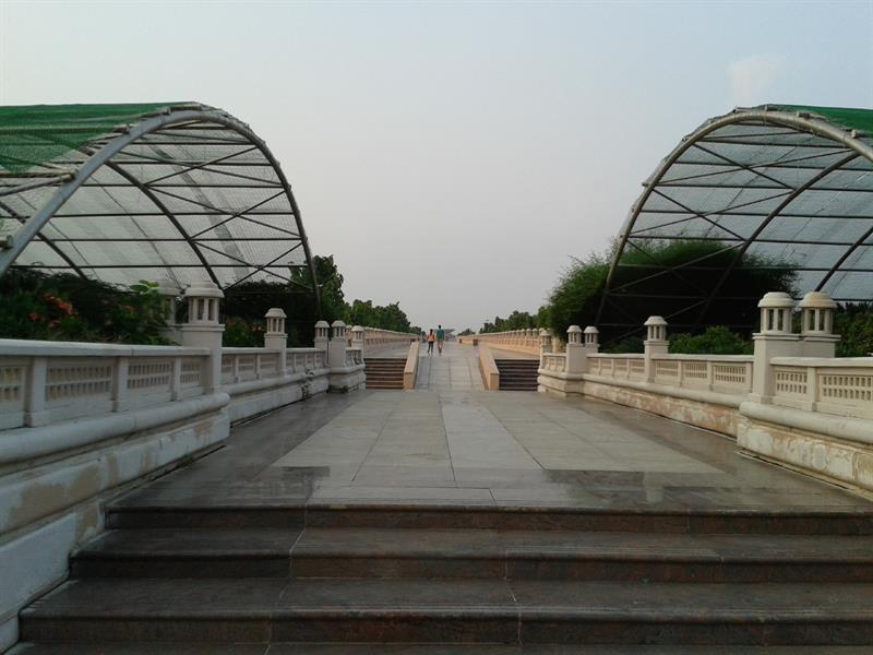 Way between two green house of eco park lucknow