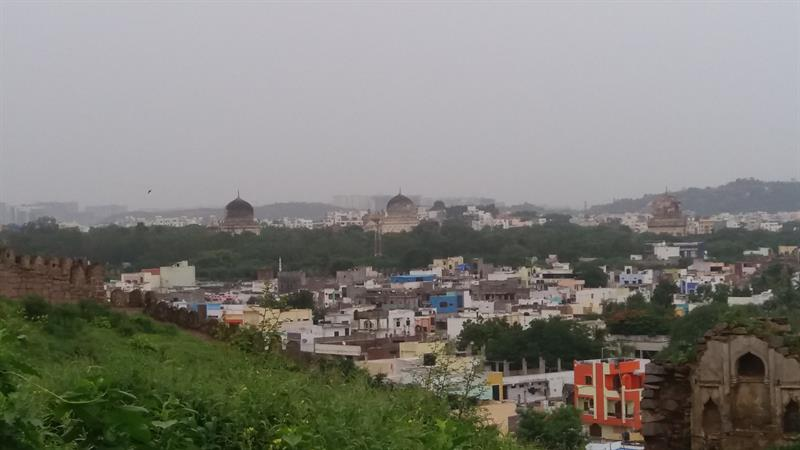 Overview of Qutub Shah tombs from Golconda Fort