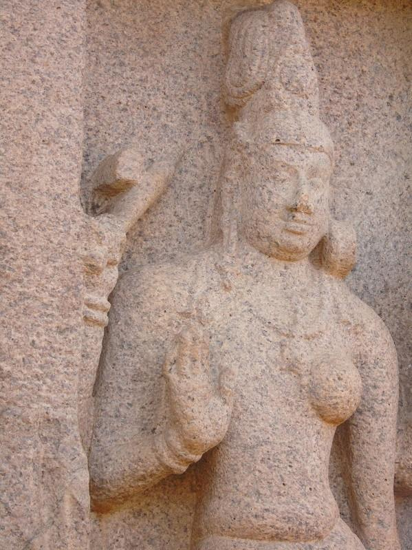 Stone carved sculpture at shore temple mahabalipuram