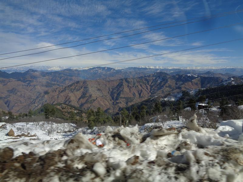 snow and mountain view -shimla