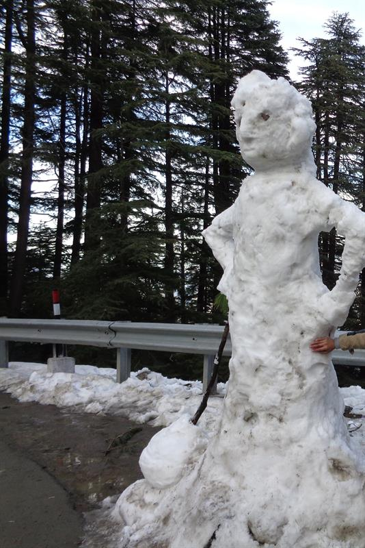 snow man made by snow - kufri, shimla