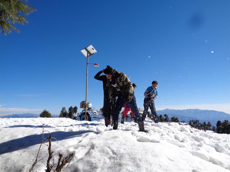 children enjoy in snow - kufri, shimla
