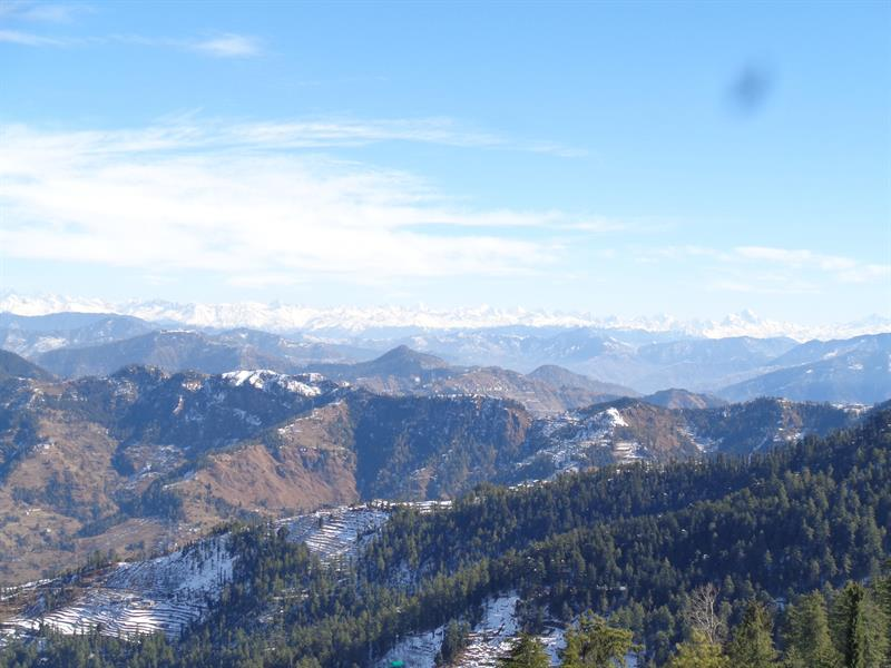 mountains peaks and valley view of Shimla