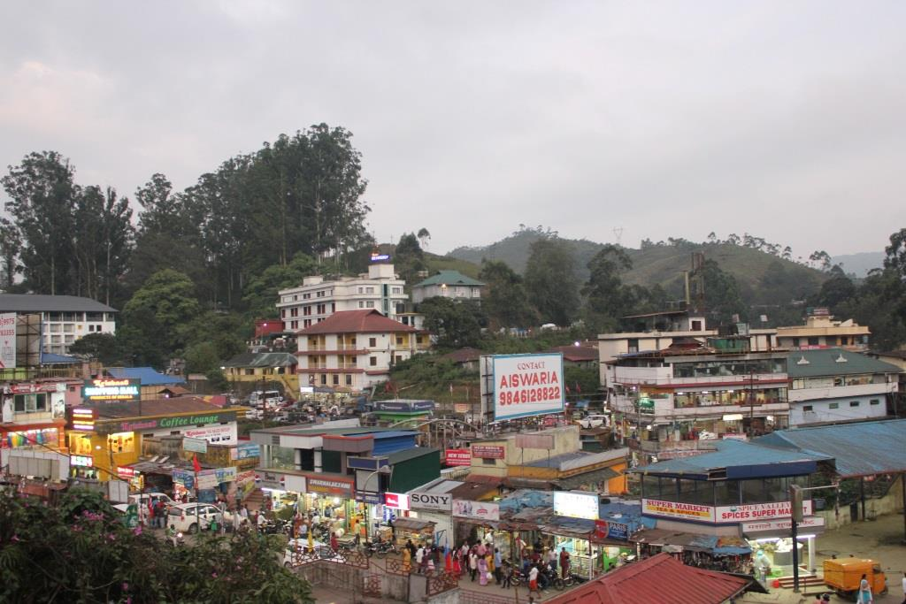 Arial view of Munnar hill station and town