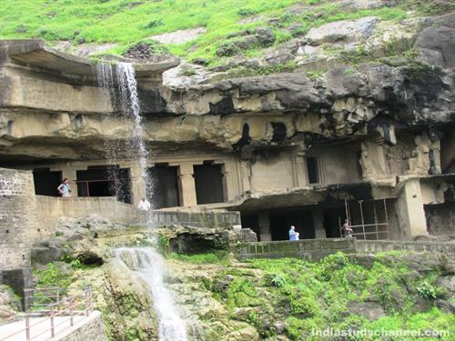 Beautiful Cave and Water Fall in Ellora