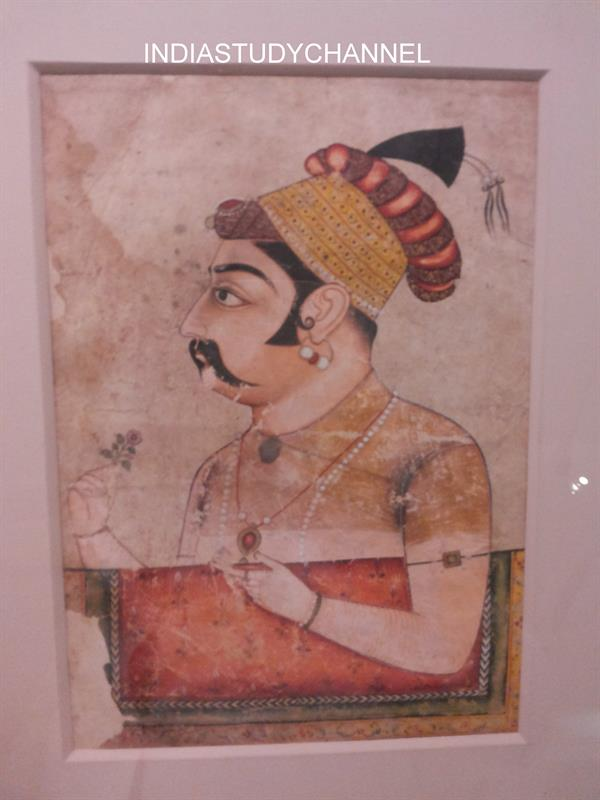 Miniature painting of Mughal emperor Akbar as seen in Chhatrapati Shivaji Museum, Mumbai.