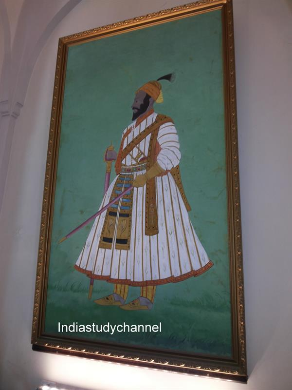 Portrait of Sivaji the Great at the entrance of the Chhatrapati Shivaji Maharaj Vastu Sangrah museum
