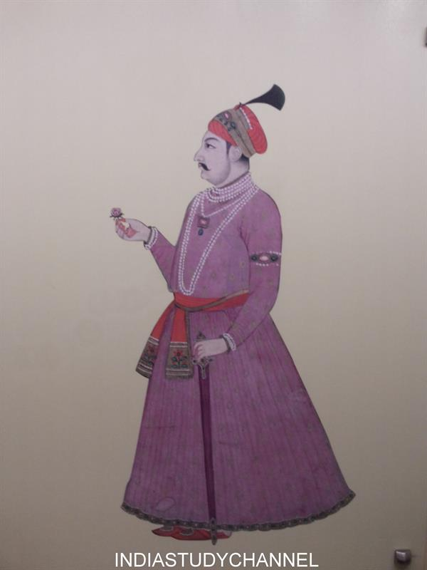 Miniature painting of Portrait of Akbar the Great as seen in Chhatrapati Shivaji Museum, Mumbai.