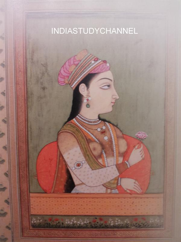 Miniature painting of Portrait of Mughal Empress Nur Jahan  as seen in Chhatrapati Shivaji Museum