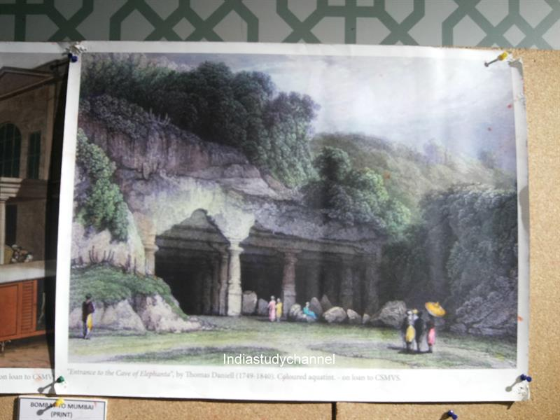 Entrance to cave of Elephenta by Thomos Daniell (1749-1840) as seen in Chhatrapati Shivaji Museum