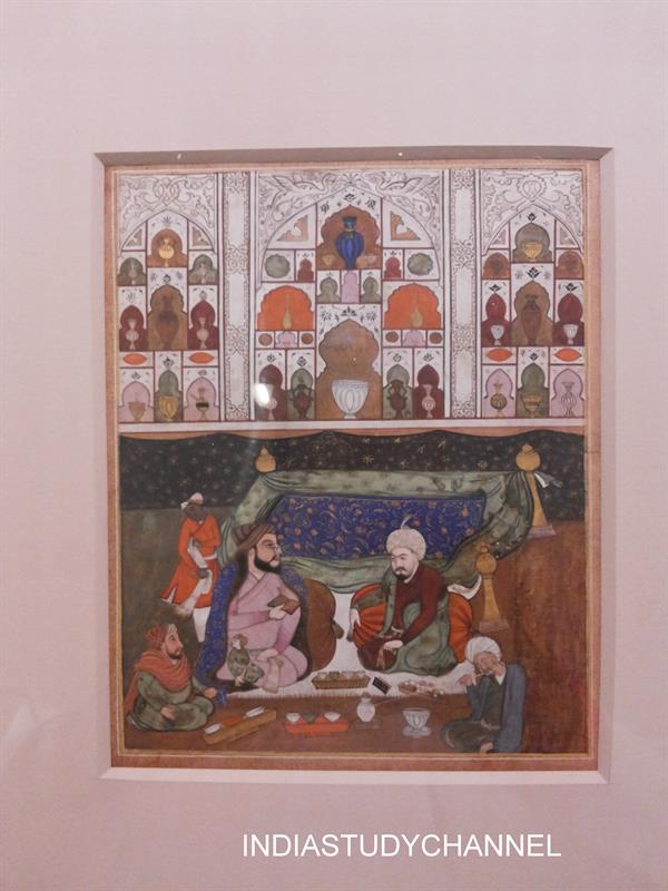 Mughal style miniature painting (1628-1658) as seen in Chhatrapati Shivaji Museum, Mumbai