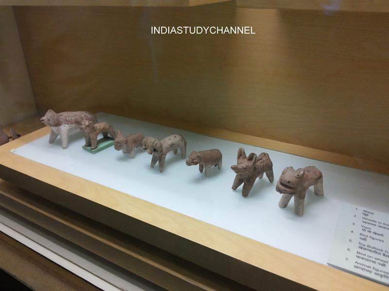 Terracotta Toys excavated from Harappan sites as seen in Chhatrapati Shivaji Museum, Mumbai