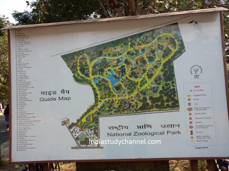 Map board of National zoological park, Delhi