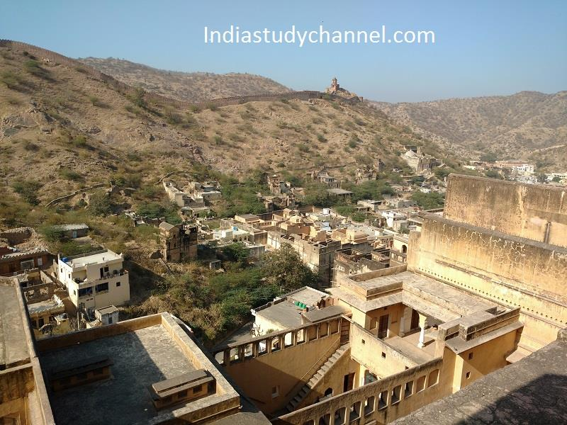 Top of the Aamer fort, fortified city Jaipur