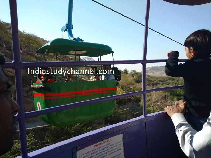 A trolley in midway of ropeway Sundhamata, Bhinmal, Jalore
