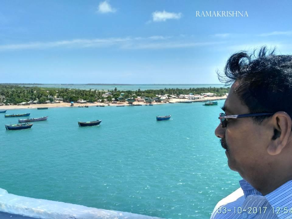 A beautiful Panoramic view of Pamban Island from Pamban Bridge, Rameswaram, Tamilnadu