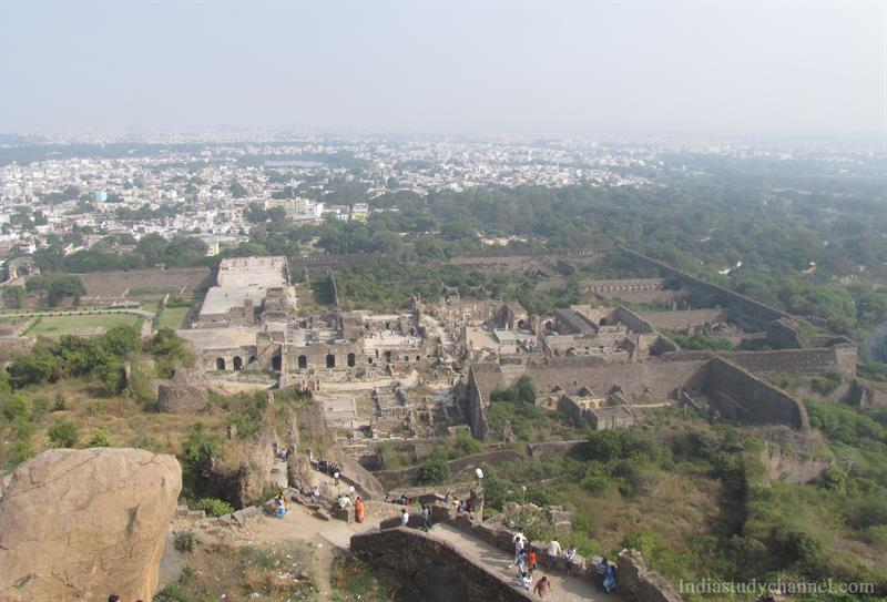 Staircase leading to the top of the Golconda Fort