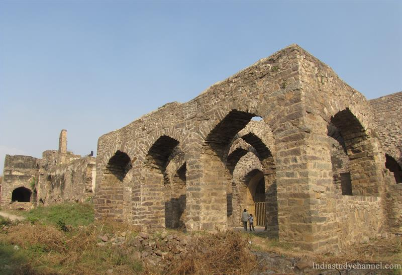 The ruins of the Rani Mahal in Golconda Fort