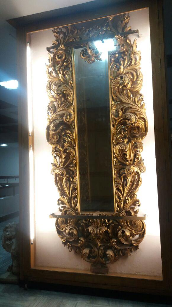 Salar Jung Museum-An antique decorated Mirror in the Museum, Hyderabad, Telangana, India