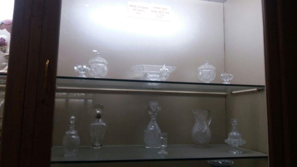 Salar Jung Museum-A show case of glassware in Glassware Gallery, Hyderabad, Telangana, India