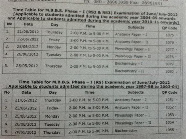 Time table for 1st year(phase 1) MBBS RS2 & RS3 by RGUHS of Karnataka to be held in June 2012