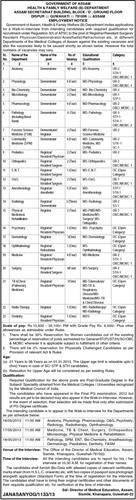 Notification for various job vacancies in Health & Family Welfare, Government of Assam