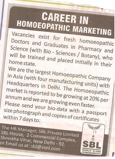 Homeopathy jobs