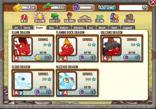 Dragon city facebook online game: types of flame dragons
