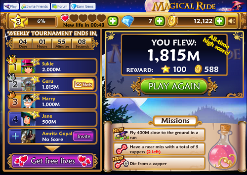 Magical Ride facebook game app screen