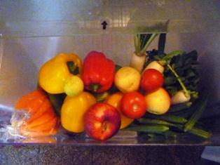 Vegetables in fridge crisper