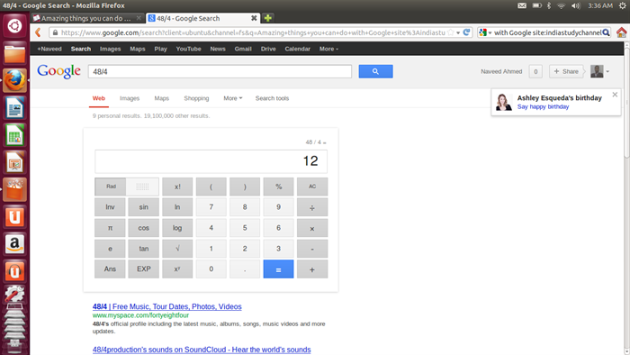 Perform a calculation with google
