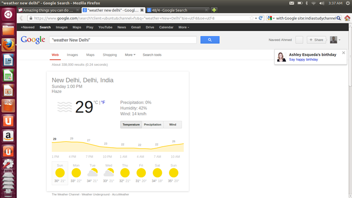 See weather reports on Google