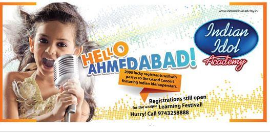 Banner for Indian Idol Academy Ahmedabad registration