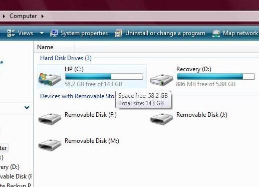 how to check how much hard drive space